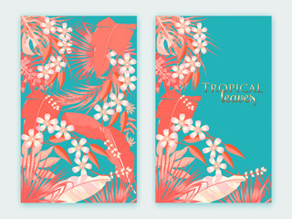 Tropical vector background in Living Coral color. Main trend concept.