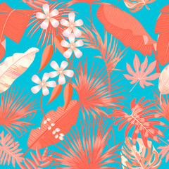 Tropical vector seamless pattern in Living Coral color. Main trend concept.