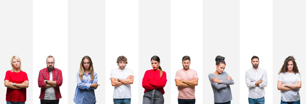 Collage of different ethnics young people over white stripes isolated background skeptic and nervous, disapproving expression on face with crossed arms. Negative person.