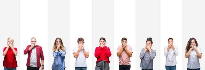 Collage of different ethnics young people over white stripes isolated background shocked covering mouth with hands for mistake. Secret concept.