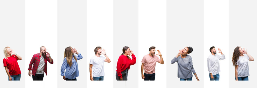 Collage of different ethnics young people over white stripes isolated background shouting and screaming loud to side with hand on mouth. Communication concept.
