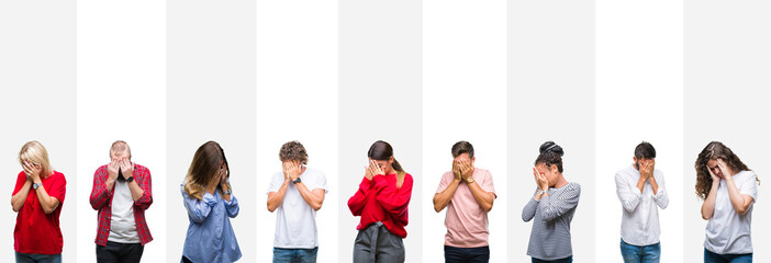 Collage of different ethnics young people over white stripes isolated background with sad expression covering face with hands while crying. Depression concept.