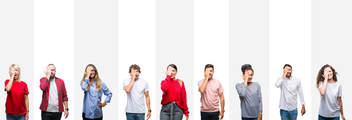 Collage of different ethnics young people over white stripes isolated background covering one eye with hand with confident smile on face and surprise emotion.