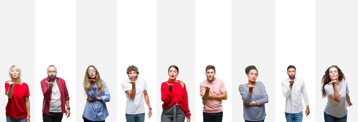 Collage of different ethnics young people over white stripes isolated background looking at the camera blowing a kiss with hand on air being lovely and sexy. Love expression.