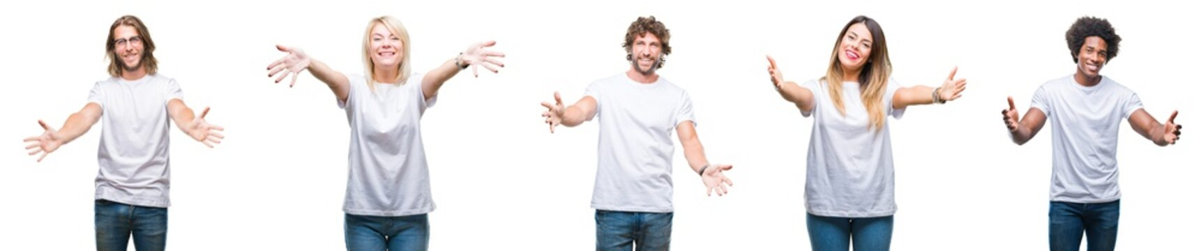 Collage of group of people wearing casual white t-shirt over isolated background looking at the camera smiling with open arms for hug. Cheerful expression embracing happiness.