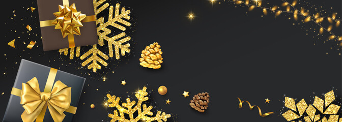 Christmas and New Year banner with top view gifts and golden snowflakes.