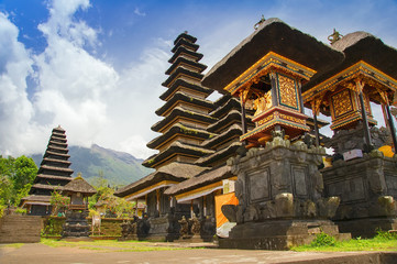 Bali, Indonesia, Pura Besakih or Mother Temple, Balinese largest hinduist temple and most famous tourist place with lots of hinduist pagodas.
