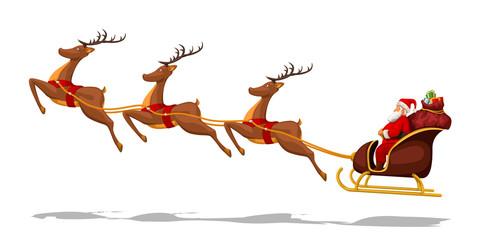 santa in sled with deers