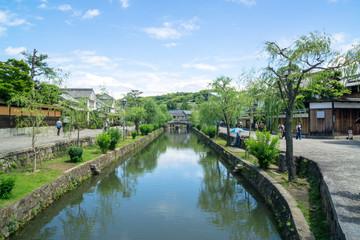 Beautiful view of water and bridge in Kurashiki, Okayama Prefecture in Japan