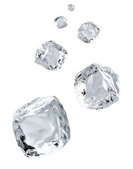 Falling ice cubes in space isolated on white background