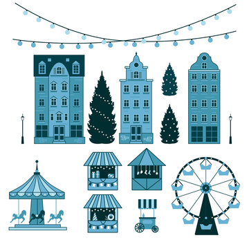 Winter Christmas fair market, Happy New year and Christmas Europe city, souvenir stalls, gift shops, Ferris wheel, garlands, carousel with horses, Christmas trees, socks, gifts. City winter landscape