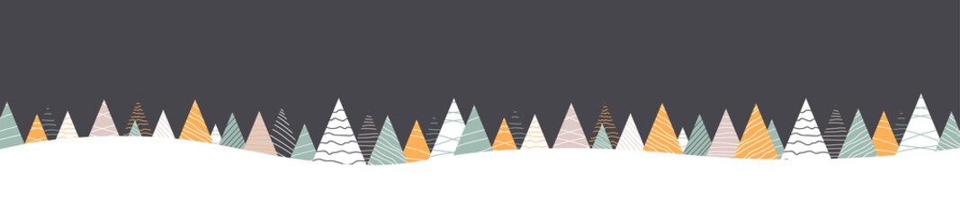 Fototapeta Grey banner with abstract fir trees and snow for Christmas and New Year design. obraz