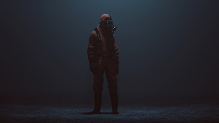 Man in a Hazmat suit in a foggy void 3d Illustration 3d render