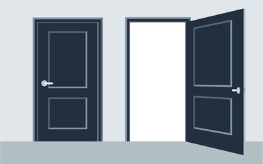 door open and close. Vector illustration, flat design.