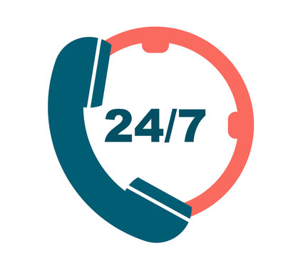 Support 24 hours call service. Call 24 icon. Twenty-four hour service icon. Flat icon of support
