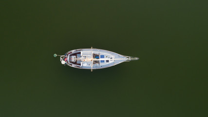 Yacht in the ocean. View from above