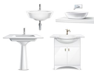Bathroom Fixtures Realistic Set
