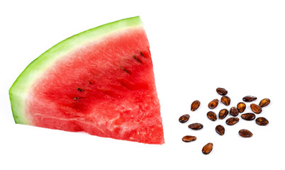 Piece of watermelon and seed on white background