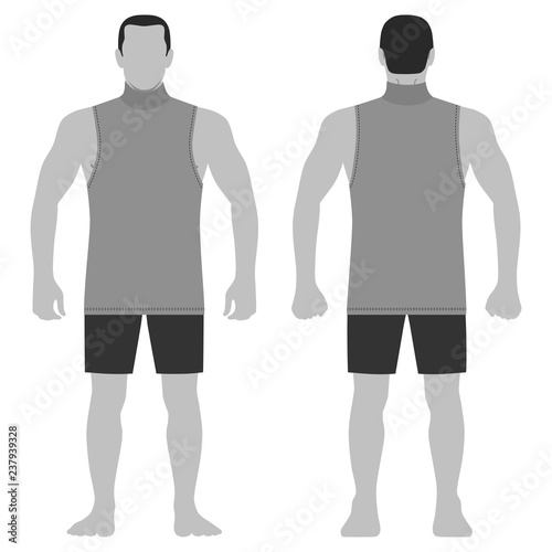 Singlet Man Template Front Back Views