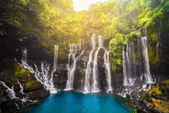 Cascade of Grand Galet in Langevin valley on La Reunion island, France