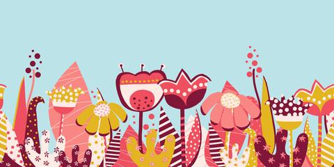 Seamless vector border summer flower meadow. Scandinavian style hand drawn flat flowers. Botanical summer illustration. Collage art florals for fabric, invitation, card design, dress, kids wallpaper.