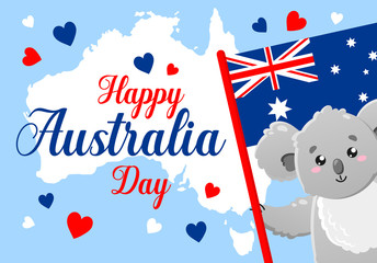 Vector poster on white background. Happy Australia Day. Cute funny koala. Template for print, design