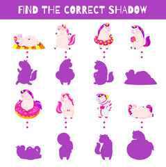 Fun game for kids. Find the correct shadow. Vector cartoon illustration. Cute doodle unicorns