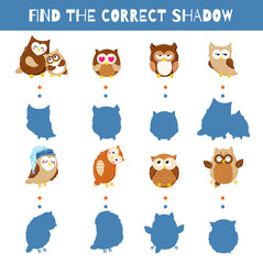 Fun game for kids. Find the correct shadow. Vector cartoon illustration. Cute doodle owls