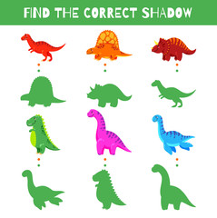 Fun game for kids. Find the correct shadow. Vector cartoon illustration. Cute doodle dinosaurs