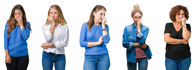 Collage of group of beautiful women over white isolated background looking stressed and nervous with hands on mouth biting nails. Anxiety problem.