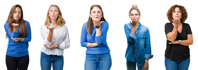 Collage of group of beautiful women over white isolated background looking at the camera blowing a kiss with hand on air being lovely and sexy. Love expression.