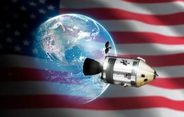 Apollo CSM, Earth, and US flag illustration