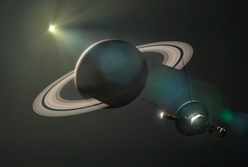 Voyager II passes Saturn, illustration