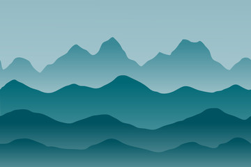 Simple vector landscape with hills and mountains in flat style