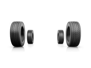 Four car tyres, illustration