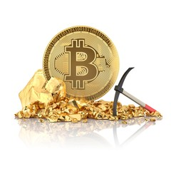Bitcoin standing on a golden stones, illustration