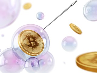 Bitcoin in a bubble, illustration