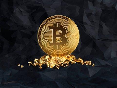 Bitcoin standing on a golden stones, illustration