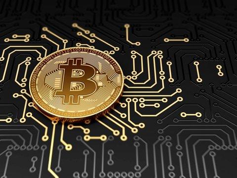 Golden bitcoin on circuit board, illustration