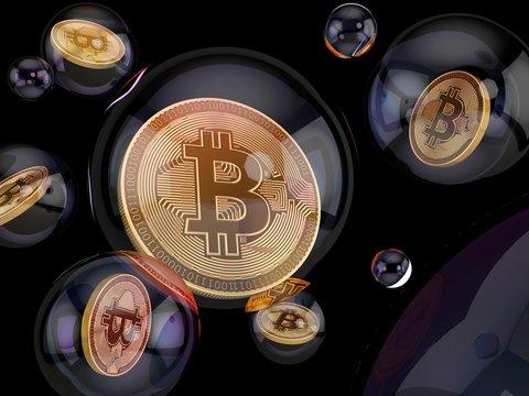Bitcoin inside bubble, illustration