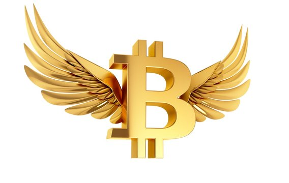 Bitcoin with wings, illustration