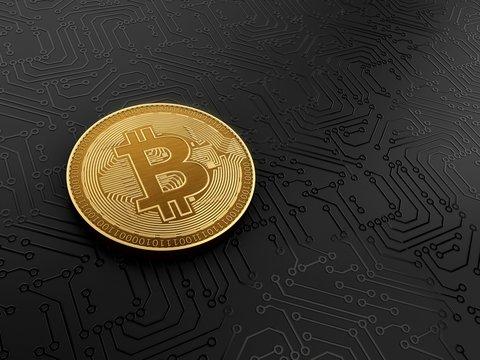 Gold bitcoin, illustration