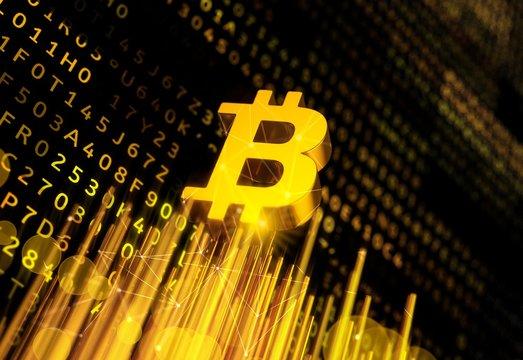 Growth and progress of bitcoin, illustration
