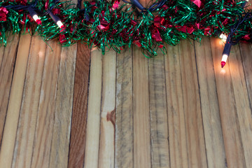 Wooden butcherblock Christmas garland background