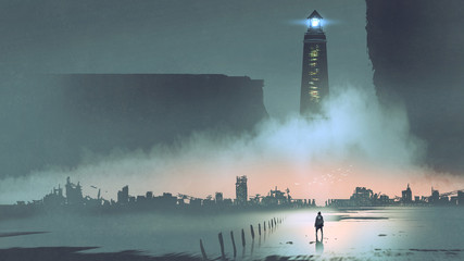 Foto op Canvas Grandfailure night scenery of the big lighthouse in futuristic world, digital art style, illustration painting
