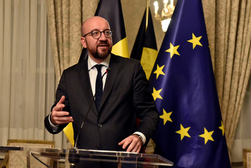 Belgium's Prime Minister Charles Michel holds a press conference in Brussels