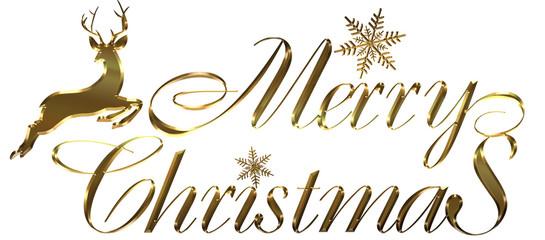 金のメタリックの質感のトナカイとメリークリスマスのロゴ|Merry Christmas logo