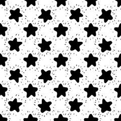 Hand drawn Star Seamless Background.