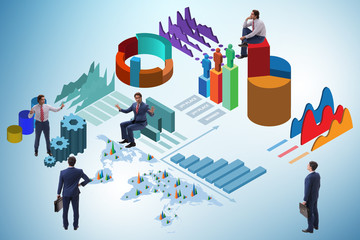 Businessman in business analytics infographics concept