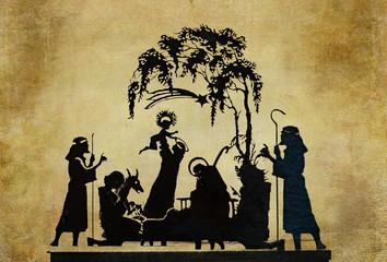 nativity silhouette on ancient parchment